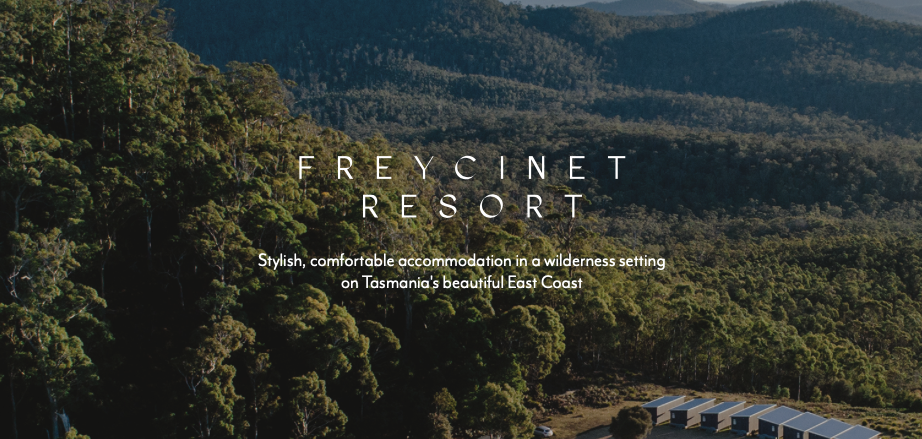 a screenshot from the Freycinet Resort website in Tasmania