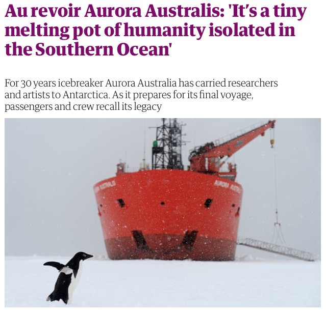 Screenshot of a Guardian Australia Feature on the Aurora Australis by Ruth Dawkins