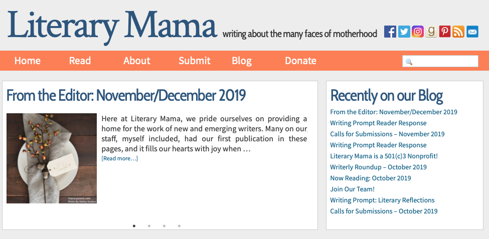 Screenshot of Literary Mama website