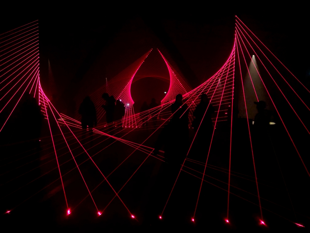 A red laser light installation at Dark Mofo winter festival in Tasmania