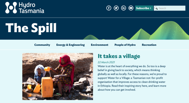 A screenshot from the Hydro Tasmania website showing a blog post titled 'It takes a village'