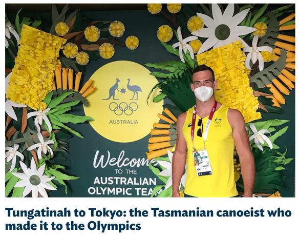A screenshot of a blog post on Hydro Tasmania's website showing Olympic canoe slalom athlete Daniel Watkins